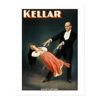 Kellar la levitación del mago - anuncio del tarjetas postales