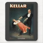 Kellar la levitación del mago - anuncio del vintag tapetes de ratón