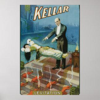 Kellar Levitation Vintage Magician Advertisement Poster