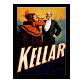 Kellar - mago - poster del teatro del vintage tarjeta postal