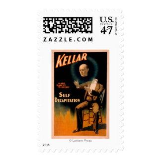 Kellar performing Self Decapitation Magic Postage