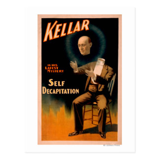 Kellar performing Self Decapitation Magic Postcard