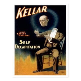 Kellar realiza al uno mismo Decaptiation, 1897 Tarjeta Postal