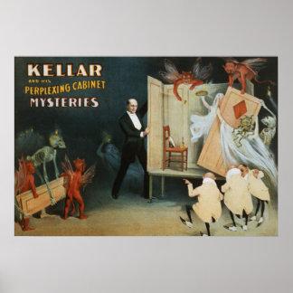 Kellar y sus misterios desconcertantes del gabinet póster