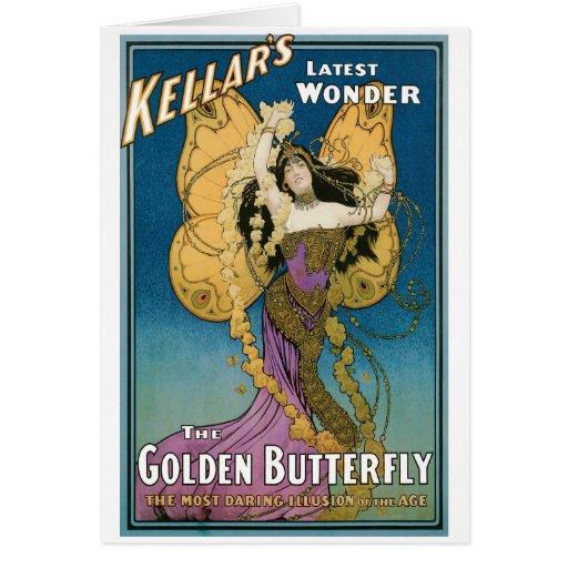 Kellar's ~ Golden Butterfly Vintage Magic Act Card