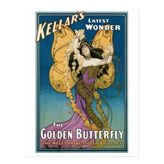 Kellar's ~ Golden Butterfly Vintage Magic Act Postcard