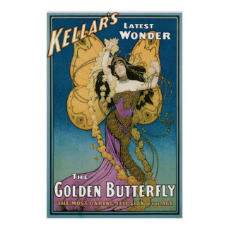 Kellar's ~ Golden Butterfly Vintage Magic Act Poster