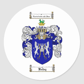 KELLEY FAMILY CREST -  KELLEY COAT OF ARMS CLASSIC ROUND STICKER