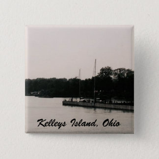 Kelleys Island boat dock black and white photo Button