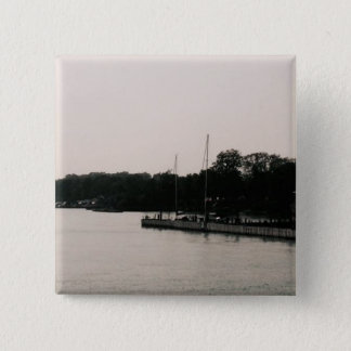 Kelleys Island boat dock black and white photo Pinback Button