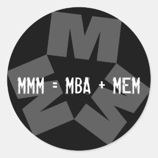 Kellogg MMM Logo Sticker:  MMM = MBA + MEM Classic Round Sticker