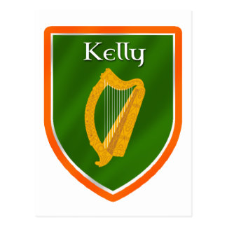Kelly family crest kelly family name postcard