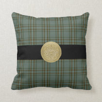 Kelly Family Tartan Plaid Pillow with Celtic Knot