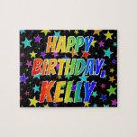 "[ Thumbnail: ""Kelly"" First Name, Fun ""Happy Birthday"" Jigsaw Puzzle ]"