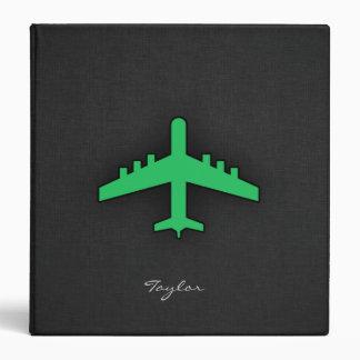 Kelly Green Airplane 3 Ring Binder
