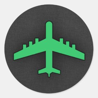 Kelly Green Airplane Classic Round Sticker