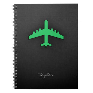 Kelly Green Airplane Notebook