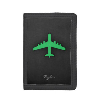 Kelly Green Airplane Trifold Wallet