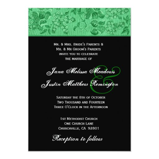 Kelly Green and Black Vintage Wedding Template 5x7 Paper Invitation Card