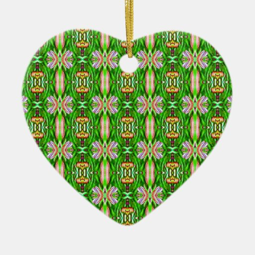 Kelly Green and Pink Lotus Flower Pattern Ceramic Ornament