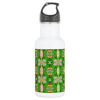 Kelly Green and Pink Lotus Flower Pattern Water Bottle