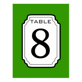 Kelly Green and White Frame Table Number 8 V08 Postcard