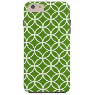 Kelly Green and White Modern Geometric Pattern Tough iPhone 6 Plus Case