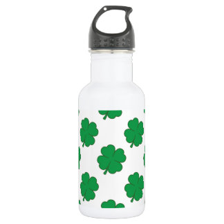 Kelly Green and White Shamrock, 4-Leaf Clover 18oz Water Bottle