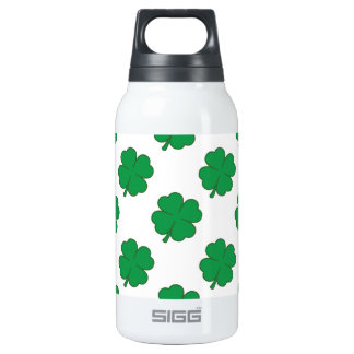 Kelly Green and White Shamrock, 4-Leaf Clover 10 Oz Insulated SIGG Thermos Water Bottle