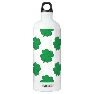 Kelly Green and White Shamrock, 4-Leaf Clover SIGG Traveler 1.0L Water Bottle