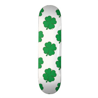 Kelly Green and White Shamrock, 4-Leaf Clover Skateboard