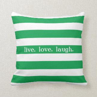 Kelly Green and White Stripe Custom Sentiment V07 Throw Pillow
