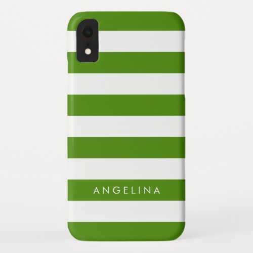 Kelly Green and White Striped Pattern Custom Name Phone Case