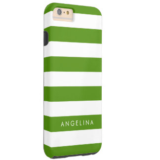 Kelly Green and White Striped Pattern Custom Name Tough iPhone 6 Plus Case