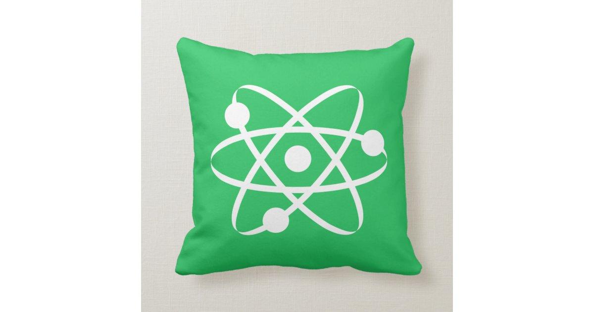 Kelly Green Atom Throw Pillow Zazzle