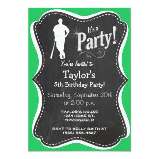Kelly Green Baseball Player 5x7 Paper Invitation Card