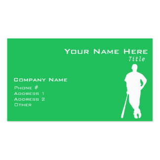 Kelly Green Baseball Player Double-Sided Standard Business Cards (Pack Of 100)