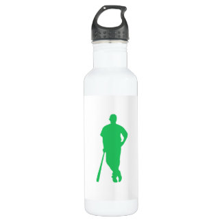 Kelly Green Baseball Player Stainless Steel Water Bottle