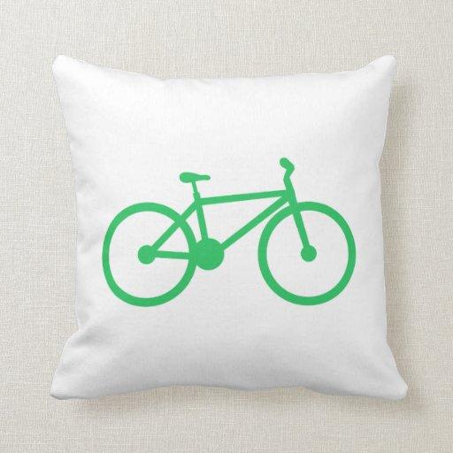 Kelly Green Throw Pillow : Kelly Green Bicycle Throw Pillow Zazzle