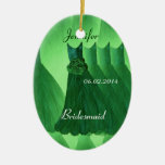 KELLY GREEN Bridesmaid Thank You Wedding Double-Sided Oval Ceramic Christmas Ornament