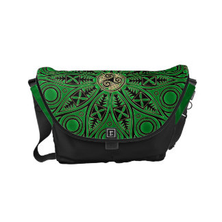 Kelly Green Celtic Mandala With Triskele Small Messenger Bag