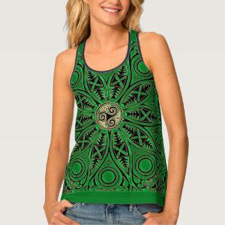 Kelly Green Celtic Mandala With Triskele Tank Top