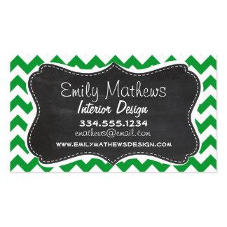 Kelly Green Chevron Stripes; Chalkboard look Business Card