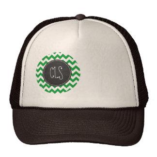 Kelly Green Chevron Stripes; Chalkboard look Trucker Hat