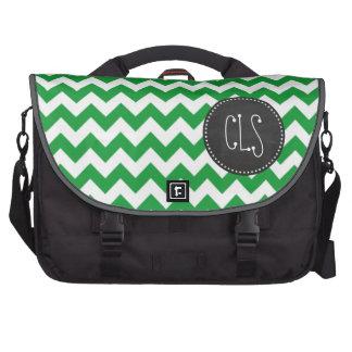 Kelly Green Chevron Stripes; Chalkboard look Bag For Laptop