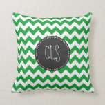 Kelly Green Chevron Stripes; Chalkboard look Throw Pillows