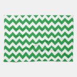 Kelly Green Chevron Stripes Kitchen Towel