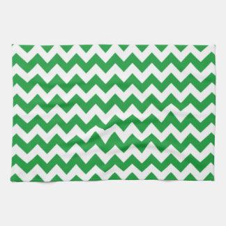 Kelly Green Chevron Stripes Hand Towel