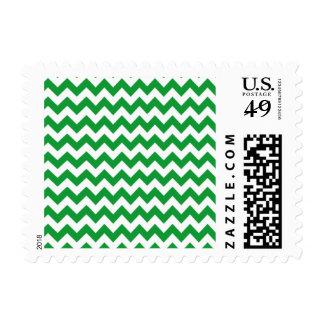Kelly Green Chevron Stripes Postage Stamp