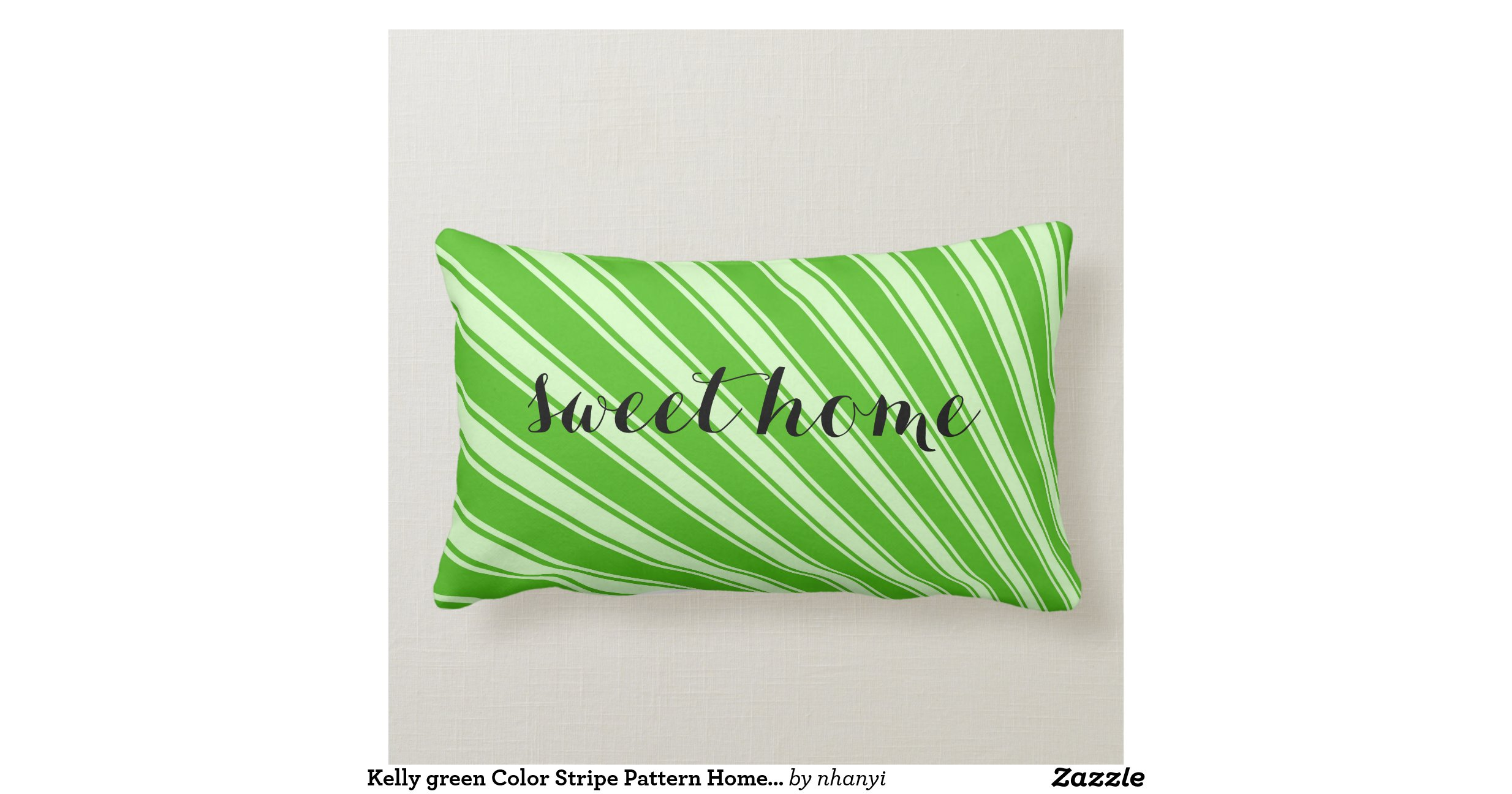 Kelly Green Color Stripe Pattern Home Monogram Pillows